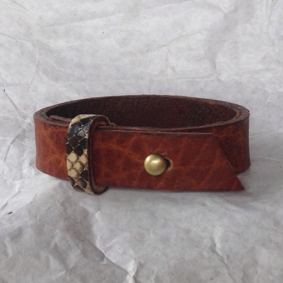 Bohemian Jewelry | Oiled buckskin lined textured leather bracelet, with python strap.
