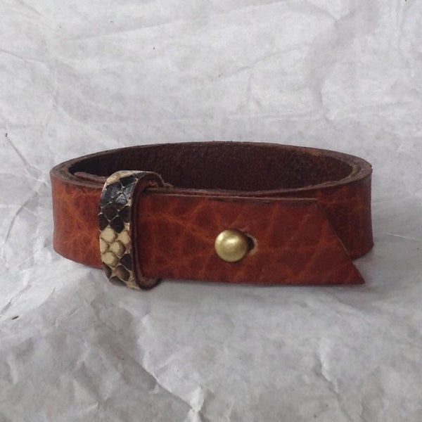 Python skin Jewelry | Oiled buckskin lined textured leather bracelet, with python strap.