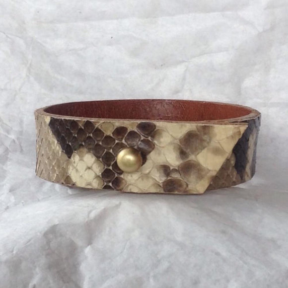 Leather Tribal Jewelry | Caramel Bull Leather and Python Bracelet, Reversible. angled end cut.