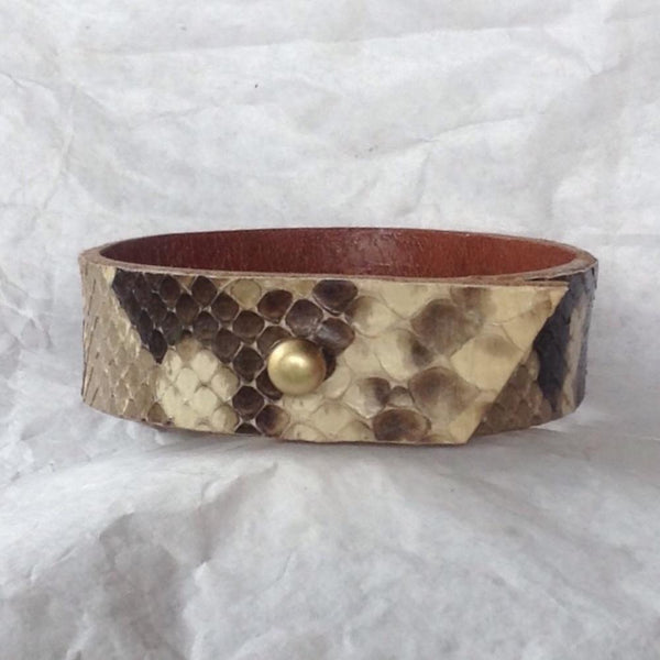 Leather Jewelry | Caramel Bull Leather and Python Bracelet, Reversible. angled end cut.