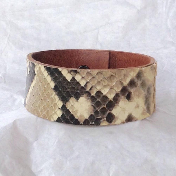 Leather Tribal Jewelry | Python and Caramel Leather Bracelet, Reversible.