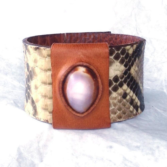 Boho Jewelry | Lavender Cowrie and Python Cuff, Reversible Leather Bracelet, shell set in buckskin.