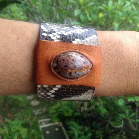 Boho Jewelry | Snake Eye Cowrie and Python Cuff, Reversible Leather Bracelet, shell set in buckskin.