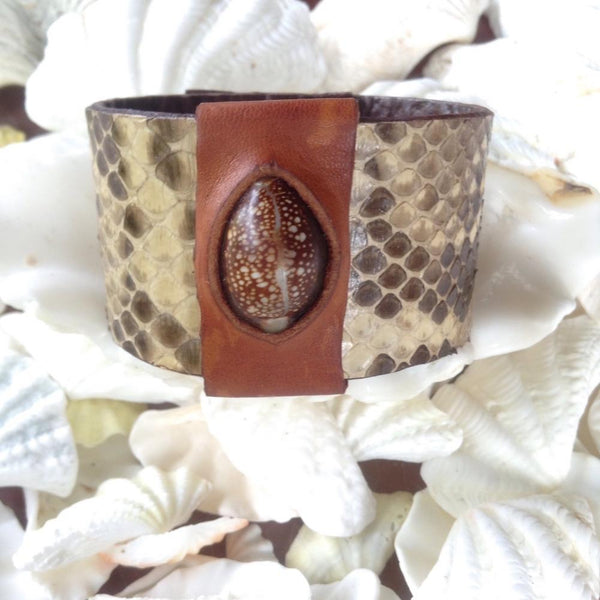 Leather Jewelry | Cowrie and Python Reversible Leather Bracelet, sea shell set in buckskin.