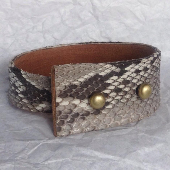 Leather Bracelets | Angular Python and Leather Cuff Bracelet. bronze buttons.