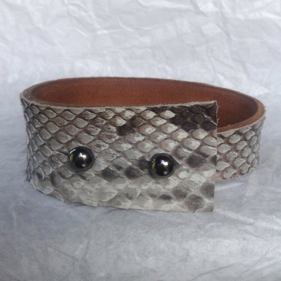 Leather Bracelets | Angular Python and Leather Cuff Bracelet. gunmetal buttons.
