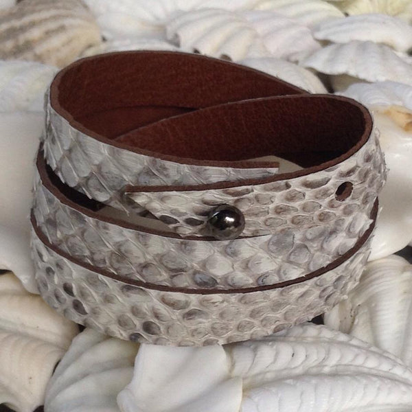 Leather Jewelry | Python and kidskin leather wrap bracelet. soft.
