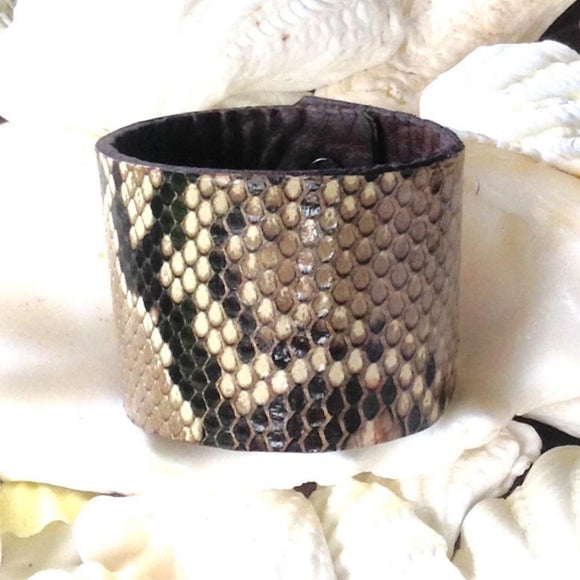 Boho Jewelry | Python and Bison Leather Cuff Bracelet, Reversible.
