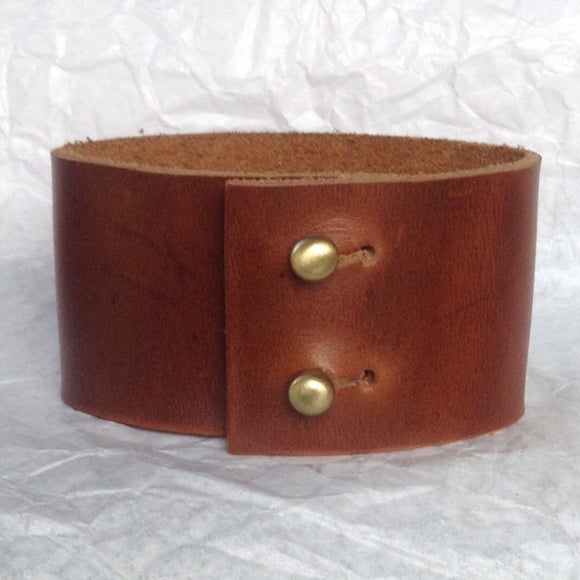 Boho Jewelry | Wide caramel leather cuff bracelet.