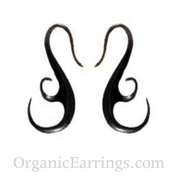 Water buffalo horn 10 Gauge Earrings | Water Buffalo Horn, french hook, 10 gauge
