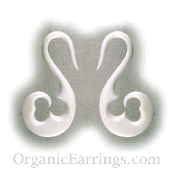 For stretched ears: 10 Gauge Earrings | Water Buffalo Bone, french hook, 10 gauge