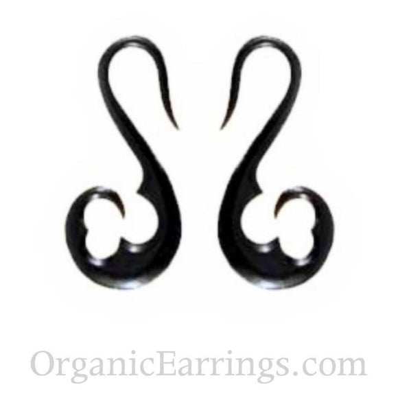 For stretched ears: 10 Gauge Earrings | Water Buffalo Horn, french hook, 10 gauge