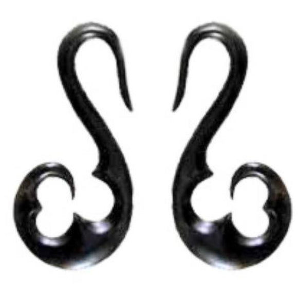 Horn Tribal Earrings | French Hook, black. Horn 6 gauge piercing jewelry.