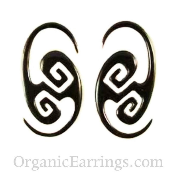 Borneo Body Jewelry | Water Buffalo Horn, 10 gauged earrings.