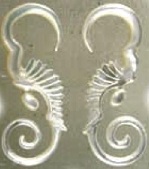 Carved 10 Gauge Earrings | Sea Diva. mother of pearl 10g Organic Body Jewelry.