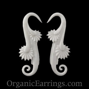 8 Gauge Earrings | Willow Blossom. Bone 8g, Organic Body Jewelry.