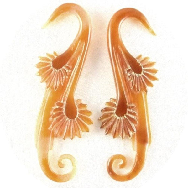 Tribal Body Jewelry | Willow Blossom. Amber Horn 6g, Organic Body Jewelry.