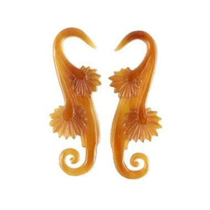 8 Gauge Earrings | Willow Blossom. Amber Horn 8g, Organic Body Jewelry.