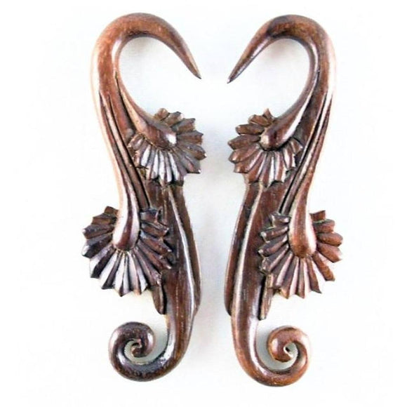 Wood Body Jewelry | Willow Blossom, 4 gauge, Sono Wood Earrings.