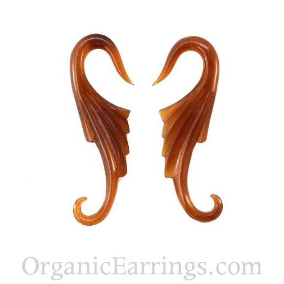 Carved 10 Gauge Earrings | Nouveau Wings. Amber Horn 10g Organic Body Jewelry.