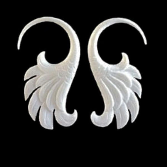 12 Gauge Earrings | Wings. 12 g body jewelry. Organic bone.