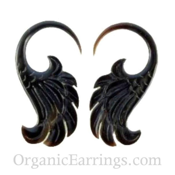 Water buffalo horn 10 Gauge Earrings | Wings. 10 gauge earrings. organic black horn