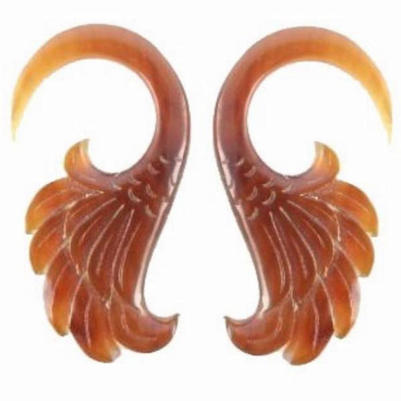Drop Organic Body Jewelry | Wings. Amber Horn 4g Organic Body Jewelry.