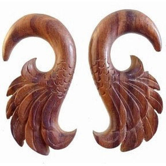 Tribal 00 Gauge Earrings | Wings. Sono Wood 00g Organic Body Jewelry.