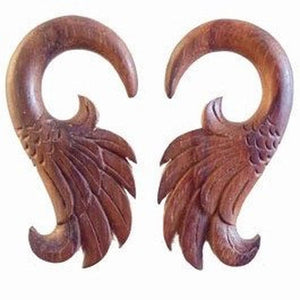 Wood Body Jewelry | Wings. 2 gauge, Sono Wood Earrings.
