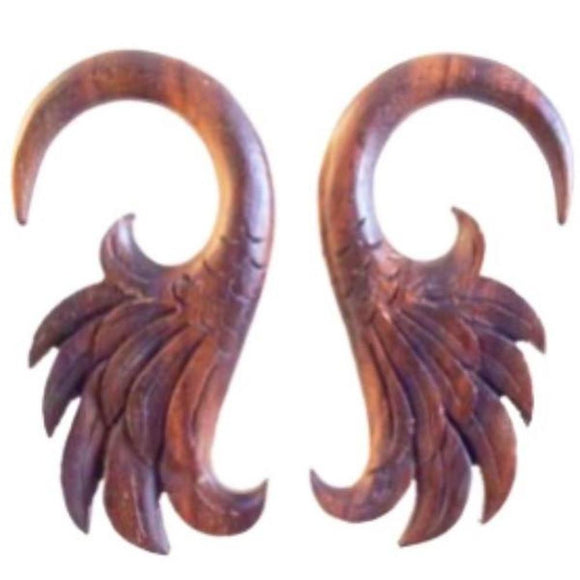 Wood Jewelry | Wings. 4 gauge, Sono Wood Earrings.