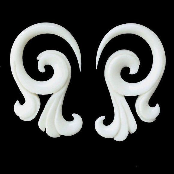 Gauge Earrings | Celestial Talon. Bone 6g, Organic Body Jewelry.