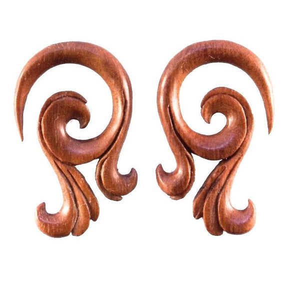 Wood Jewelry | Celestial Talon. 4 gauge Sabo Wood Earrings. 1