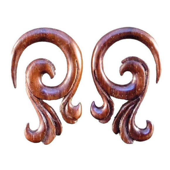 Gauges | Celestial Talon. 4 gauge Sono Wood Earrings. 1