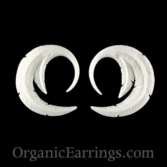 12 Gauges | Feather. Bone 12g Organic Body Jewelry.