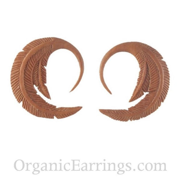 Carved 10 Gauge Earrings | Feather. 10 gauge earrings. 1 1/4