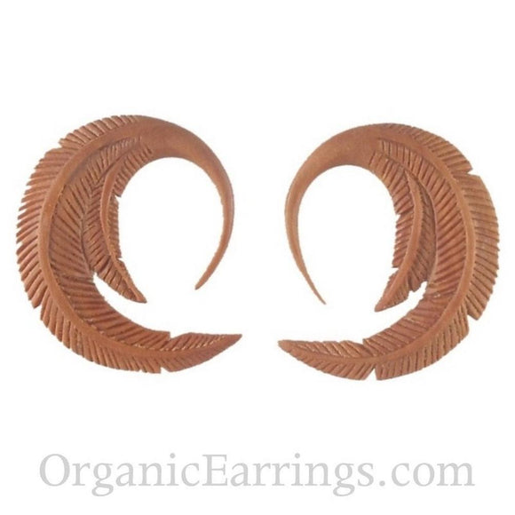 12g Gauges | Feather. Sabo Wood 12g Organic Body Jewelry.