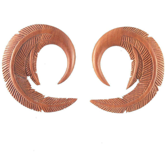 Organic Piercing Jewelry | Feather. Sabo Wood 2g Organic Body Jewelry.