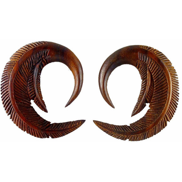 Tribal 00 Gauge Earrings | Feather. Sono Wood 00g Organic Body Jewelry.