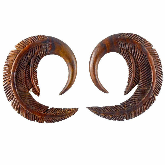 Wood Jewelry | Feather. 2 gauge Sono Wood Earrings. 1 3/4