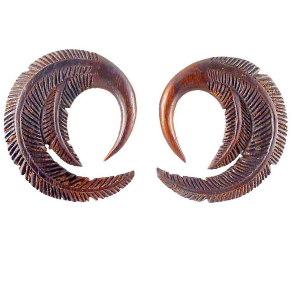 Gauges | Feather. 4 gauge Sono Wood Earrings. 1 1/2