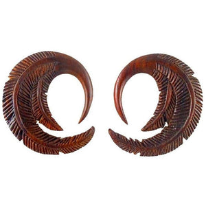Gauges | Feather. 6 gauge Sono Wood Earrings. 1 1/8