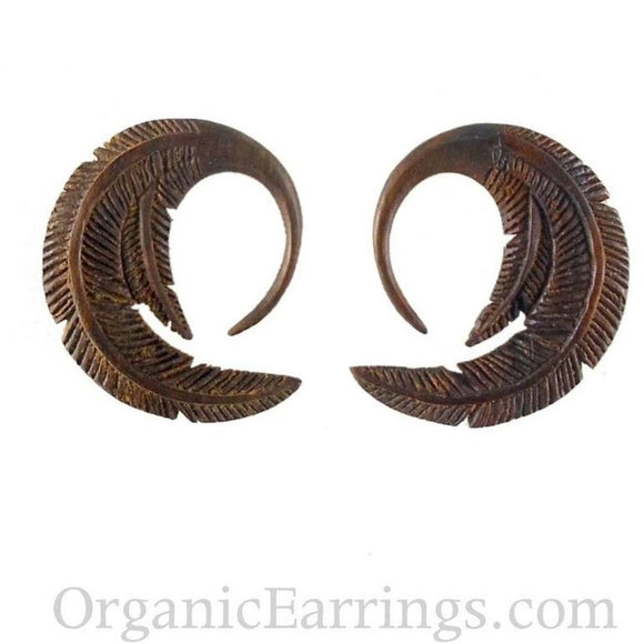 8 Gauges | Feather. Sono Wood 8g Organic Body Jewelry.