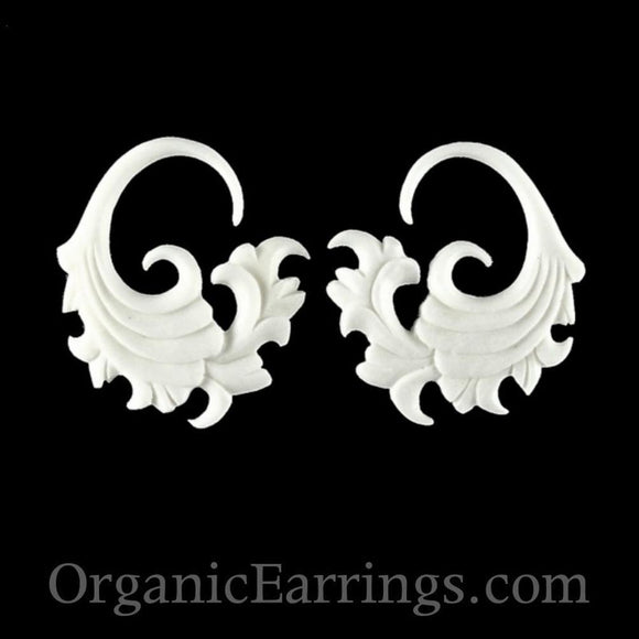 Carved 10 Gauge Earrings | Fire. Bone 10g Organic Body Jewelry.