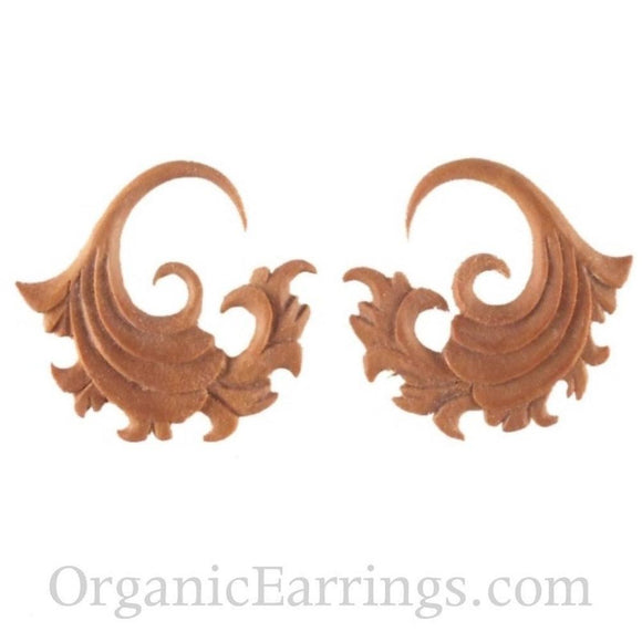 Carved 10 Gauge Earrings | Fire. 10 gauge Sabo Wood Earrings. 1 1/4