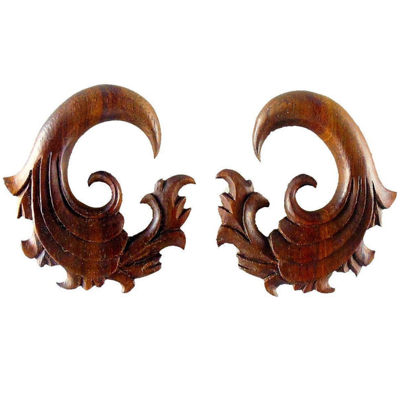 Tribal 00 Gauge Earrings | Fire. Sono Wood 00g Organic Body Jewelry.