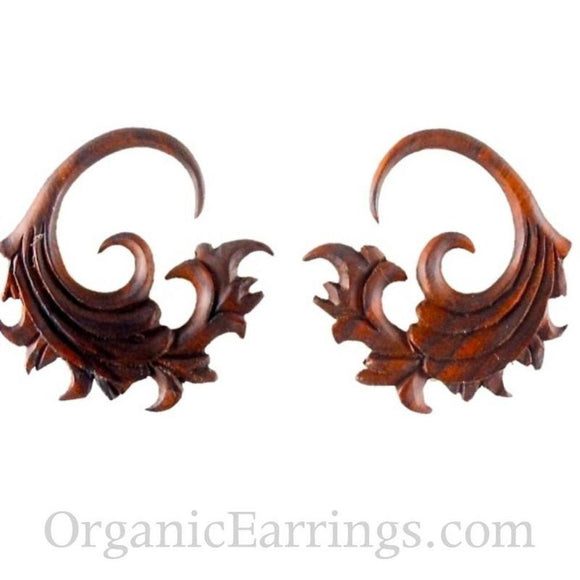 Carved 10 Gauge Earrings | Fire. Sono Wood 10g Organic Body Jewelry.