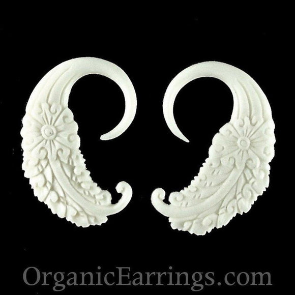 Bone Tribal Earrings | Cloud Dream. Bone 8g Organic Body Jewelry.