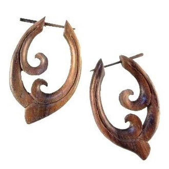 Wood Jewelry | Pura Vida Hoop. Wooden Earrings. Organic Sono, Handmade Jewelry.