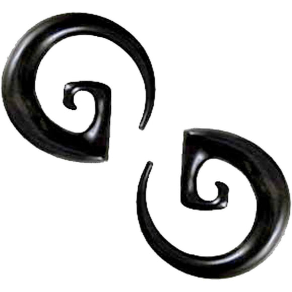 Black 00 Gauge Earrings | Water Buffalo Horn Garuda Spirals, 00 gauge