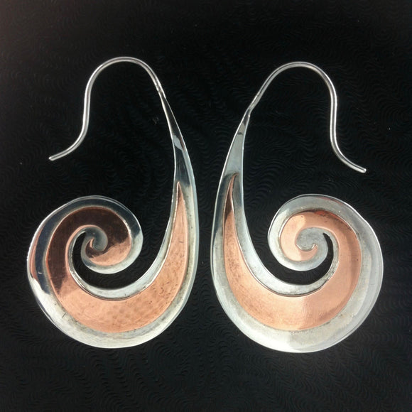 Tribal Earrings | Heavy Spiral. sterling silver with copper highlights earrings.